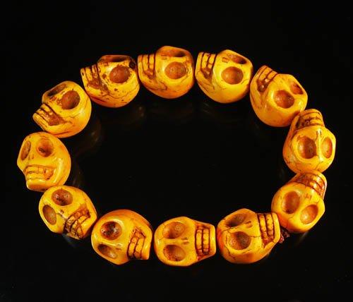 Wholesale 12pcs Turquoise Orange Skull Beads Stretch Bracelet for Men ZZ2400