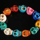 Wholesale 12pcs Turquoise Colorful Skull Beads Stretch Bracelet for Men ZZ2401