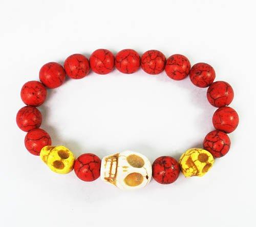 Wholesale 12pcs Turquoise White Yellow Skull Bead Red Veins Ball Beads Stretch Bracelet ZZ2467