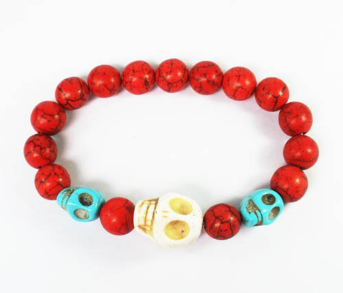 Wholesale 12pcs Turquoise White Baby Blue Skull Bead Red Veins Beads Stretch Bracelet ZZ2468