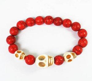 Wholesale 12pcs Turquoise White Skull Bead Red Veins Ball Beads Stretch Bracelet ZZ2469