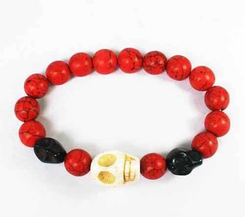 Wholesale 12pcs Turquoise White Black Skull Bead Red Veins Ball Beads Stretch Bracelet ZZ2473