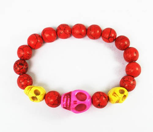 Wholesale 12pcs Turquoise Hot Pink Yellow Skull Bead Red Veins Ball Beads Stretch Bracelet ZZ2480