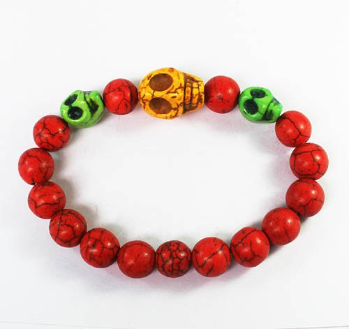 Wholesale 12pcs Turquoise Yellow Green Skull Bead Red Veins Ball Beads Stretch Bracelet ZZ2500