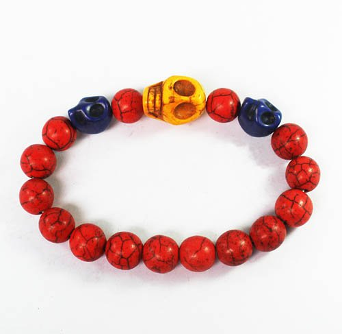 Wholesale 12pcs Turquoise Yellow Blue Skull Bead Red Veins Ball Beads Stretch Bracelet ZZ2502