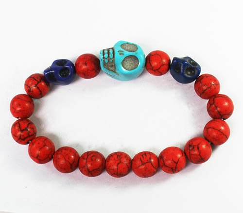 Wholesale 12pcs Turquoise Blue Skull Bead Red Veins Ball Beads Stretch Bracelet ZZ2503