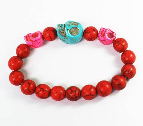 Wholesale 12pcs Turquoise Baby Blue Hot Pink Skull Bead Red Veins Ball Beads Stretch Bracelet ZZ2504