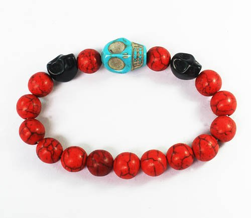 Wholesale 12pcs Turquoise Baby Blue Black Skull Bead Red Veins Ball Beads Stretch Bracelet ZZ2506