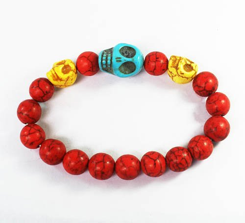Wholesale 12pcs Turquoise Baby Blue Yellow Skull Bead Red Veins Ball Beads Stretch Bracelet ZZ2510
