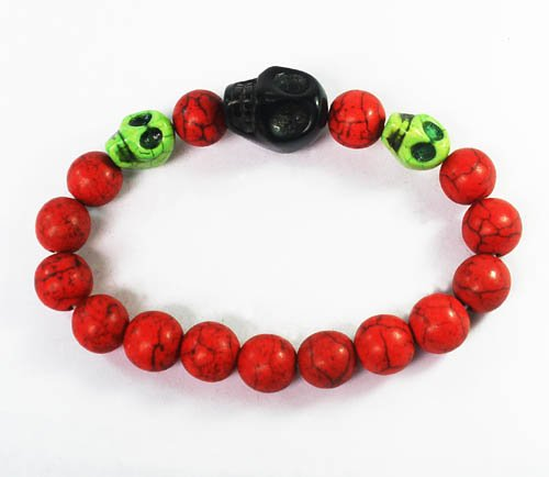 Wholesale 12pcs Turquoise Green Black Skull Bead Red Veins Ball Beads Stretch Bracelet ZZ2511