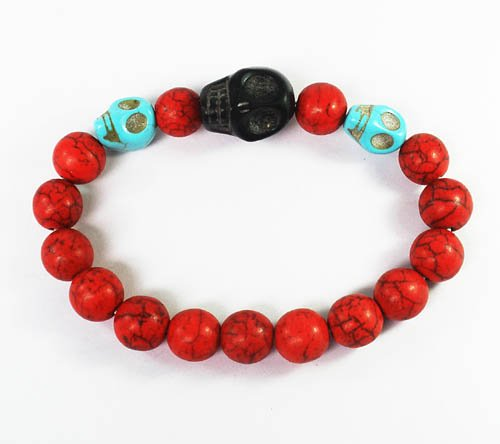 Wholesale 12pcs Turquoise Baby Blue Black Skull Bead Red Veins Ball Beads Stretch Bracelet ZZ2512