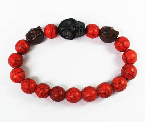 Wholesale 12pcs Turquoise Brown Black Skull Bead Red Veins Ball Beads Stretch Bracelet ZZ2513