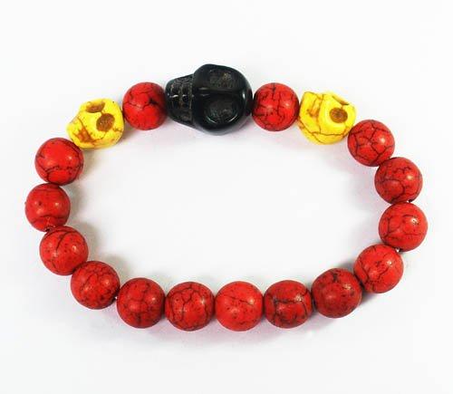 Wholesale 12pcs Turquoise Yellow Black Skull Bead Red Veins Ball Beads Stretch Bracelet ZZ2514