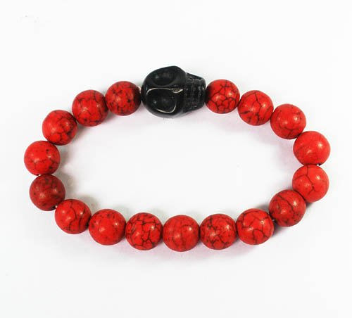 Wholesale 12pcs Turquoise Black Skull Bead Red Veins Ball Beads Stretch Bracelet ZZ2521