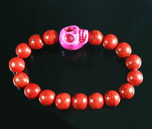Wholesale 12pcs Turquoise Hot Pink Skull Bead Red Veins Ball Beads Stretch Bracelet ZZ2524