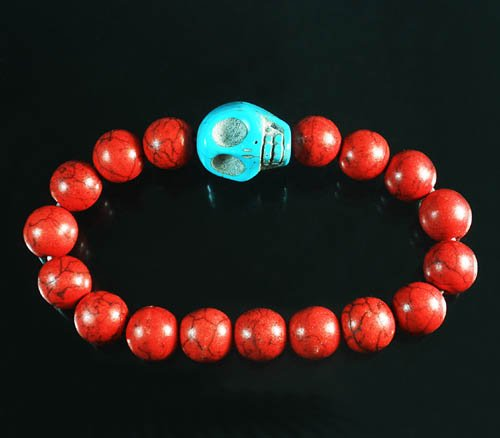 Wholesale 12pcs Turquoise Baby Blue Skull Bead Red Veins Ball Beads Stretch Bracelet ZZ2525