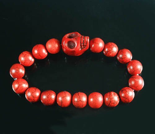 Wholesale 12pcs Turquoise Red Skull Bead Red Veins Ball Beads Stretch Bracelet ZZ2528