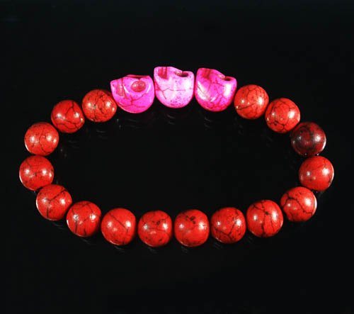 Wholesale 12pcs Turquoise Hot Pink Skull Bead Red Veins Ball Beads Stretch Bracelet ZZ2531