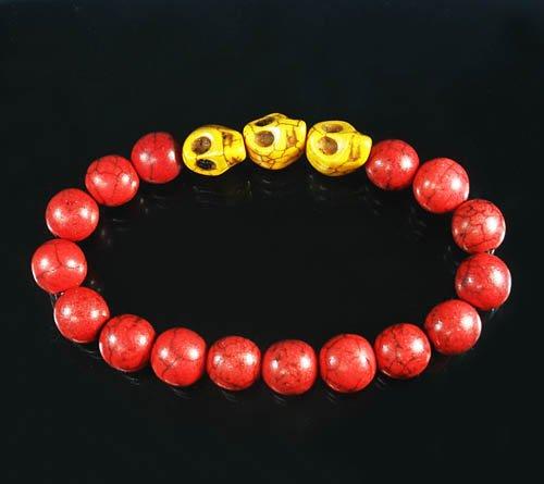 Wholesale 12pcs Turquoise Yellow Skull Bead Red Veins Ball Beads Stretch Bracelet ZZ2532