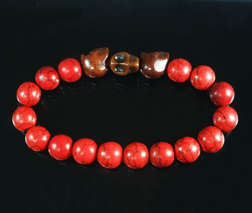 Wholesale 12pcs Turquoise Brown Skull Bead Red Veins Ball Beads Stretch Bracelet ZZ2534