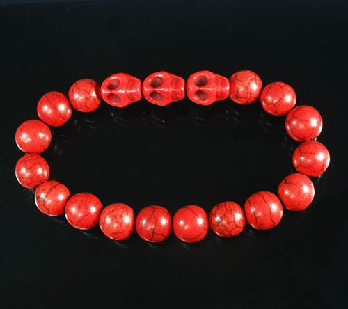 Wholesale 12pcs Turquoise Red Skull Bead Red Veins Ball Beads Stretch Bracelet ZZ2536