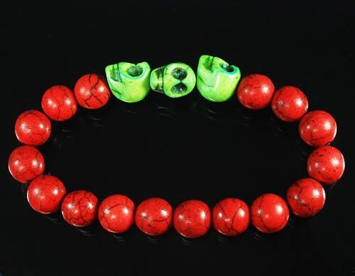 Wholesale 12pcs Turquoise Green Skull Bead Red Veins Ball Beads Stretch Bracelet ZZ2539