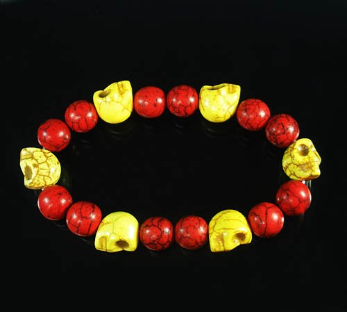 Wholesale 12pcs Turquoise Yellow Skull Bead Red Veins Ball Beads Stretch Bracelet ZZ2540