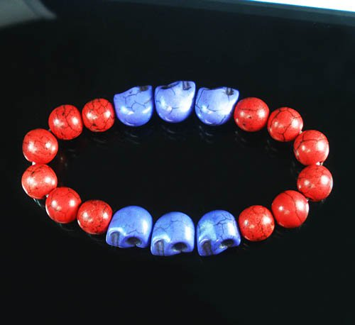 Wholesale 12pcs Turquoise Purple Skull Bead Red Veins Ball Beads Stretch Bracelet ZZ2559
