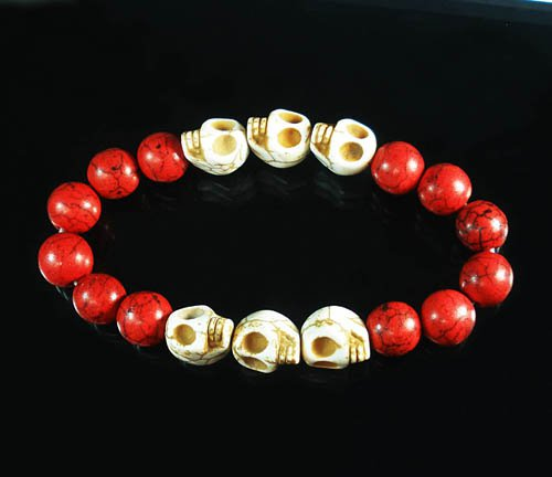 Wholesale 12pcs Turquoise White Skull Bead Red Veins Ball Beads Stretch Bracelet ZZ2561