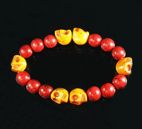 Wholesale 12pcs Turquoise Orange Skull Bead Red Veins Ball Beads Stretch Bracelet ZZ2568