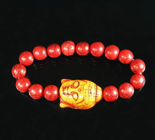 Wholesale 12pcs Turquoise Orange Buddha Bead Red Veins Ball Beads Stretch Bracelet ZZ2580