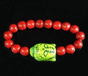 Wholesale 12pcs Turquoise Green Buddha Bead Red Veins Ball Beads Stretch Bracelet ZZ2581
