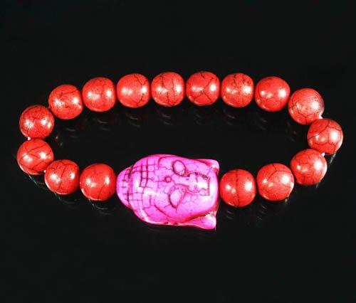 Wholesale 12pcs Turquoise Hot Pink Buddha Bead Red Veins Ball Beads Stretch Bracelet ZZ2584