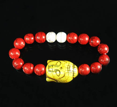 Wholesale 12pcs Turquoise Yellow Buddha Bead Red White Veins Ball Beads Stretch Bracelet ZZ2591