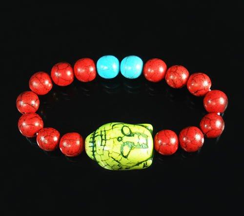 Wholesale 12pcs Turquoise Green Buddha Bead Red Blue Veins Ball Beads Stretch Bracelet ZZ2594