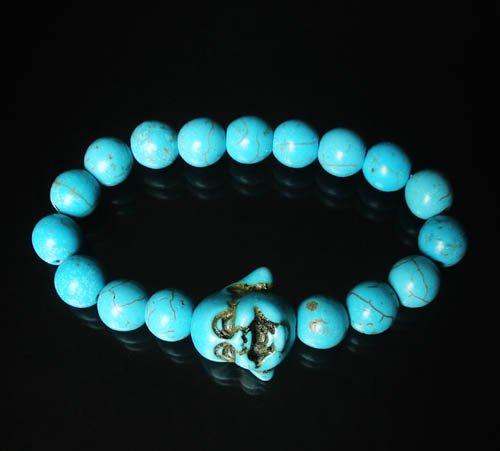 Wholesale 12pcs Turquoise Baby Blue Buddha Veins Beads Prayer Mala Stretch Bracelet ZZ2613