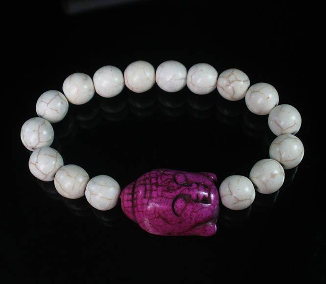 Turquoise Purple Buddha Beads White Veins Ball Beads Stretch Bracelet ZZ2614