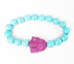 Turquoise Purple Smile Buddha Baby Blue Veins Beads Prayer Mala Stretch Bracelet ZZ2622