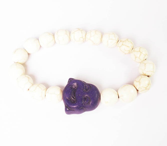 Turquoise Dark Blue-Purple Smile Buddha White Veins Beads Prayer Mala Stretch Bracelet ZZ2623