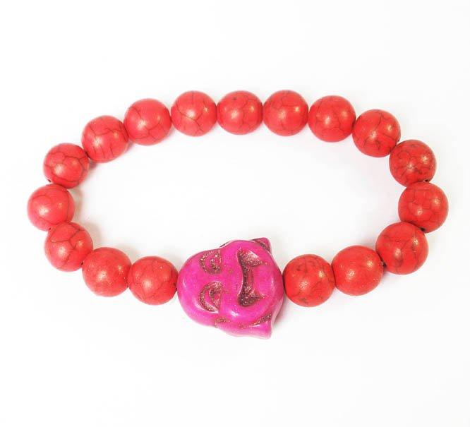 Turquoise Purple Smile Buddha Red Veins Beads Prayer Mala Stretch Bracelet ZZ2627