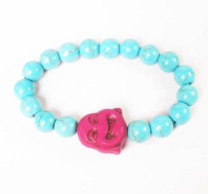 Turquoise Purple Smile Buddha Baby Blue Veins Beads Prayer Mala Stretch Bracelet ZZ2628