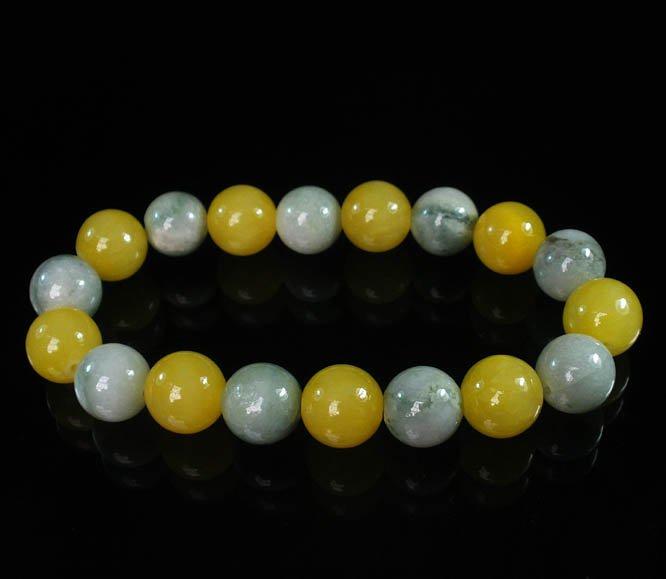 Women 7inch Polished Tibet & Nepal Stone Light Color Vein Yellow Bead Bracelet WZ2049-10M