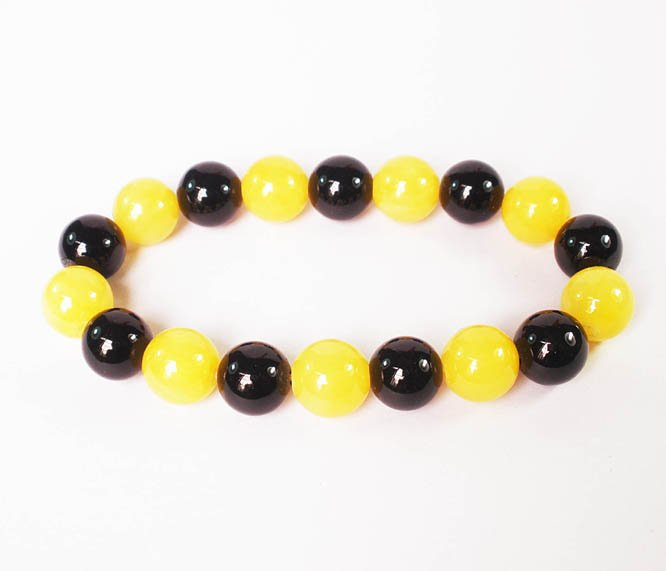 Women 7inch Polished Tibet & Nepal Stone Black Yellow Beads Bracelet WZ2052-10M