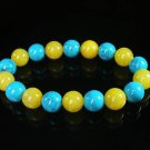 Women 7inch Polished Tibet & Nepal Stone Baby Blue Vein Yellow Beads Bracelet WZ2056-10M