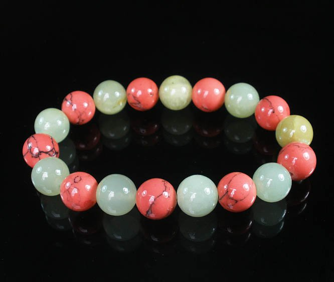 Women 7inch Polished Tibet & Nepal Stone Light Green Pink Vein Beads Bracelet WZ2063-10M