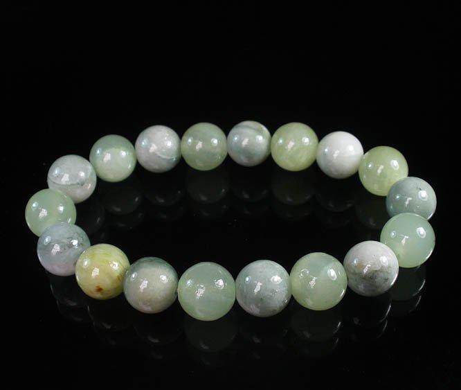 Women 7inch Polished Tibet & Nepal Stone Light Green Light Color Bead Bracelet WZ2066-10M