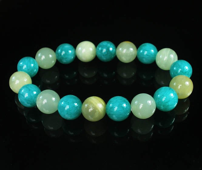 Women 7inch Polished Tibet & Nepal Stone Light Green Green Beads Bracelet WZ2069-10M