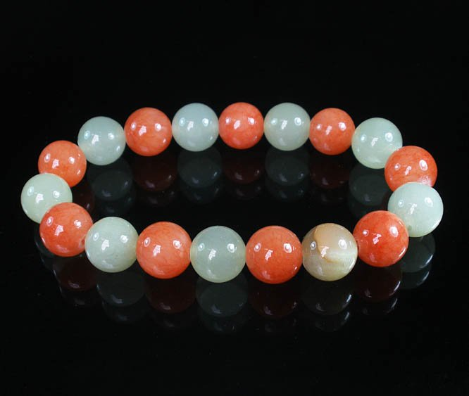 Women 7inch Polished Tibet & Nepal Stone Light Green Red-Orange Beads Bracelet WZ2070-10M