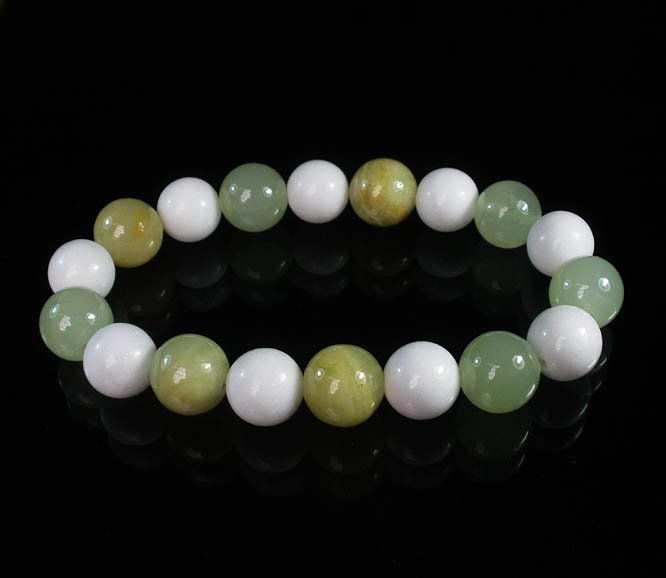 Women 7inch Polished Tibet & Nepal Stone Light Green White Beads Bracelet WZ2072-10M