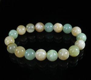 Women 7inch Polished Tibet & Nepal Stone Light Green Yellow Beads Bracelet WZ2074-10M
